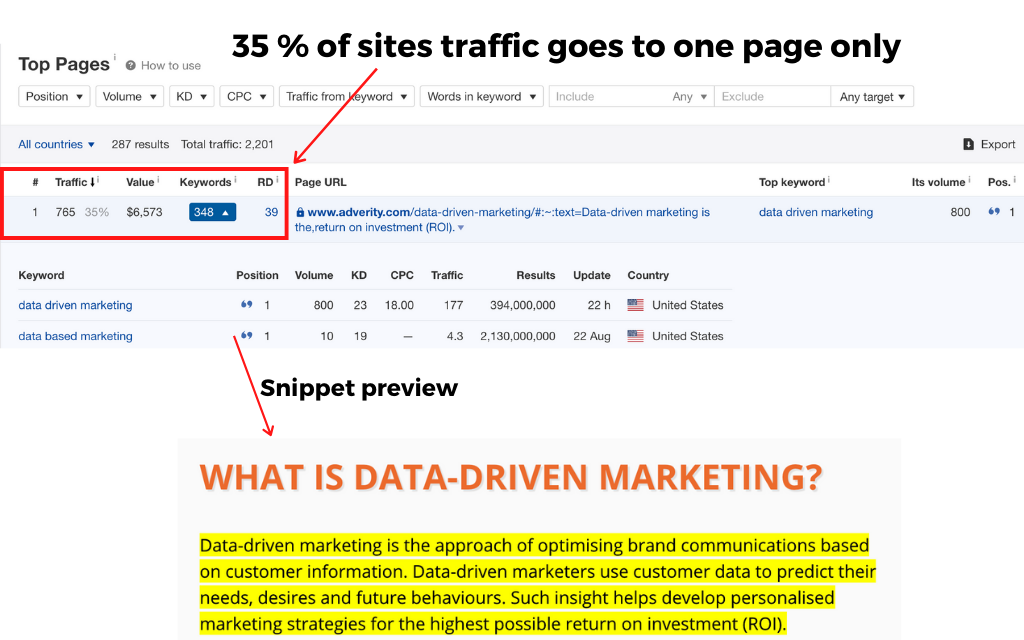 snippet overview is the key success measure
