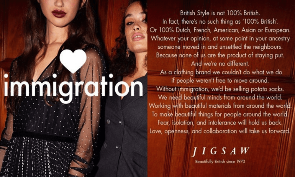 Jigsaw's sustainable 'Love immigration' campaign.