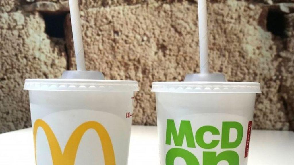 Mc Donald's paper straws in plastic cups.