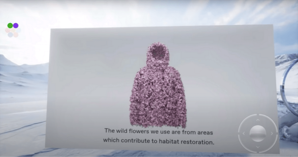 Pangaia's VR experience on their new jackets made out of flowers.