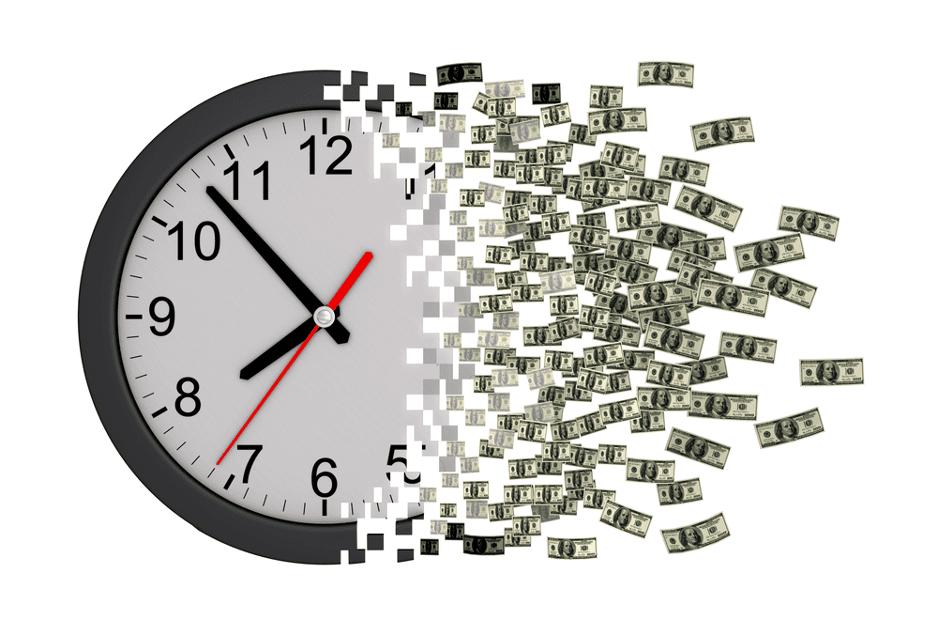 White clock morphing into dollar bills.