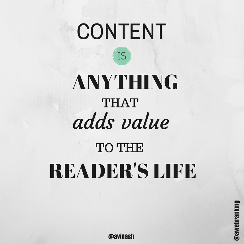 Black text on gray background describing the purpose of content writing: adding value.