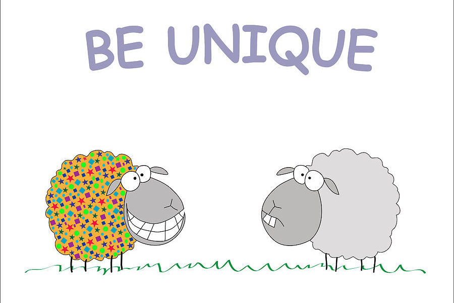 Two illustrated sheep standing on the grass. The sheep to the left has yellow wool covered in red, purple, green and blue shapes such as stars, circles, triangles, and rectangles. The sheep is smiling. The sheep to the right has a grey wool and a bored face. The purple text above the sheep says: