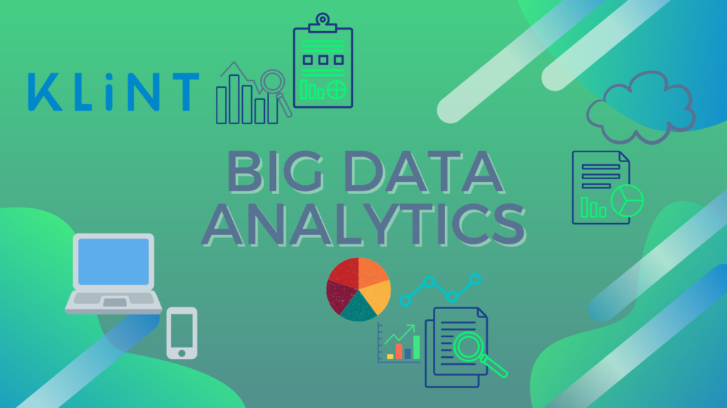 An image of a computer, phone, and statistical bars representing big data analytics