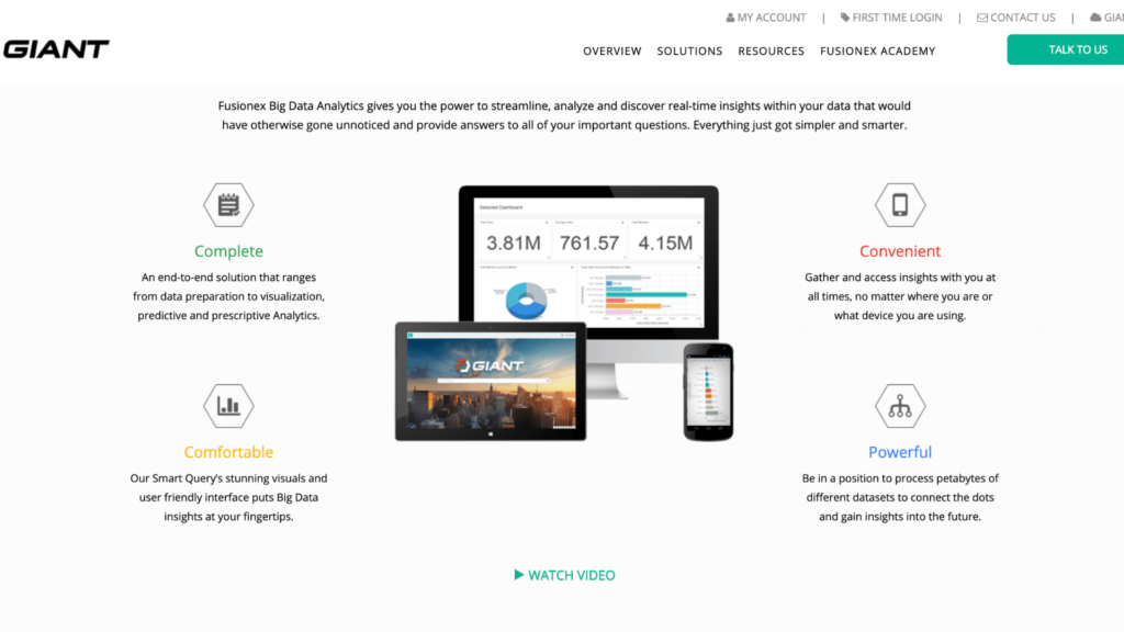 A photo of their website showing all the capabilities and features of the platform