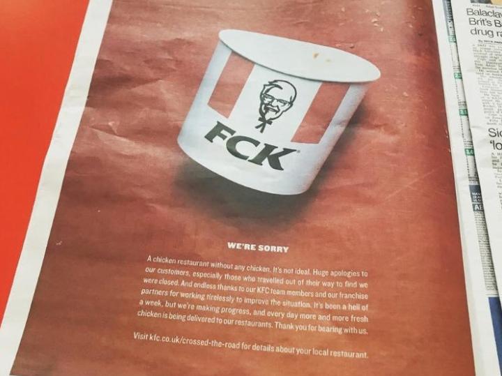 KFC FCK campaign in newspaper