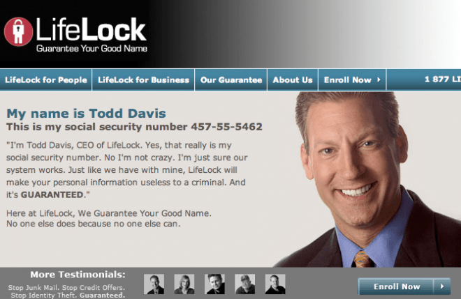 Lifelock's billboard ad with CEO SSN