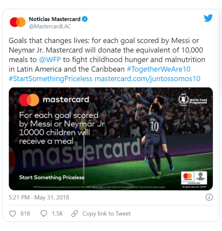 Mastercards controversial social media post for the world cup charity campaign
