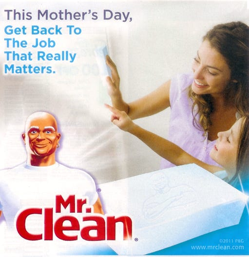 A copy of the controversial Mr. Clean mother's day print ad