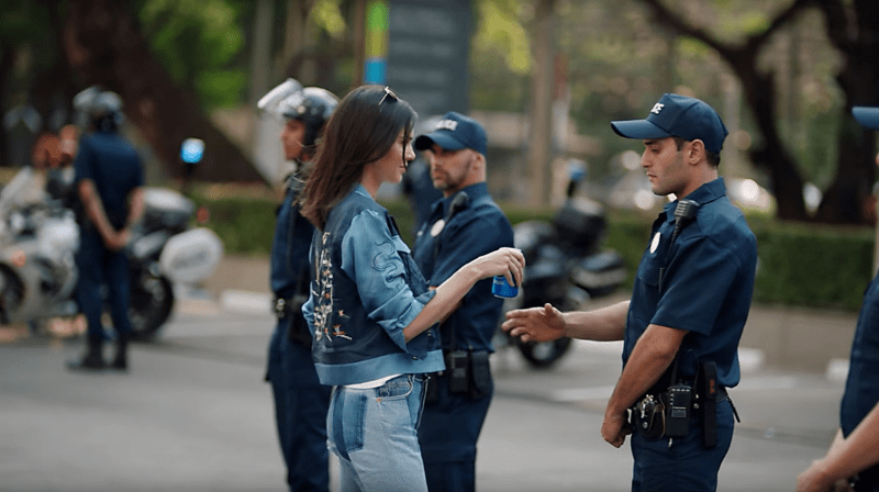 Kendall Jenner handing a policeman a Pepsi in the controversial Pepsi commercial