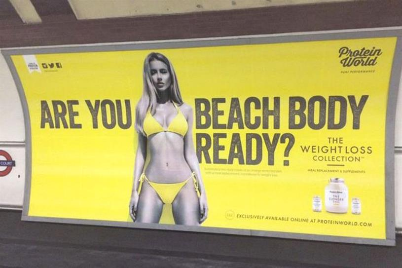the controversial Protein World ad from London underground
