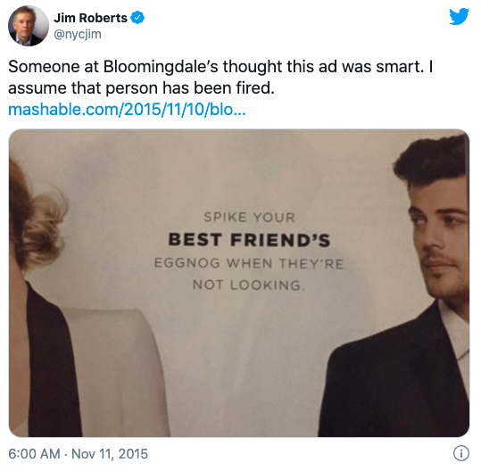 A tweet posted in reaction to Bloomingdale's sexist catalogue