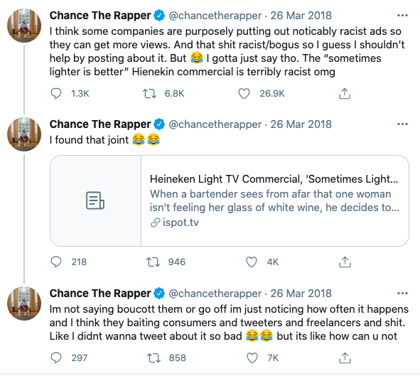 Chance the rapper tweeted about the Heineken racist ad