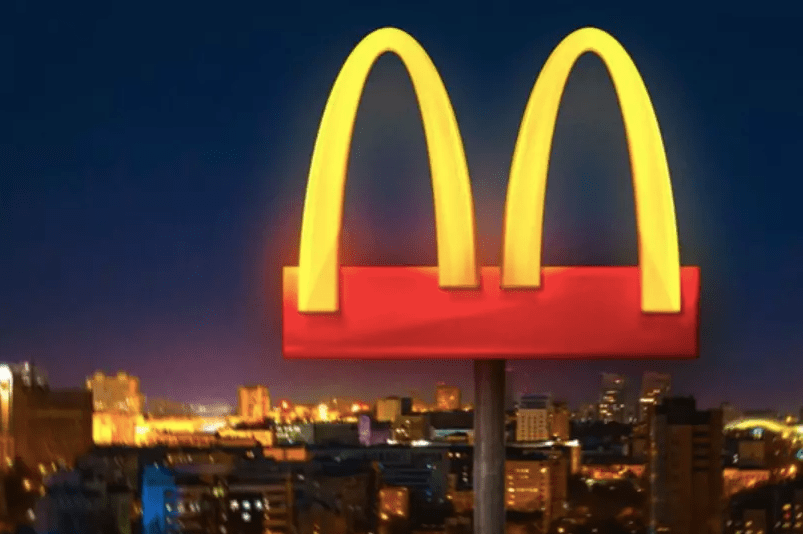 A picture from social media of a version of the mcdonalds logo, with the arches separated.