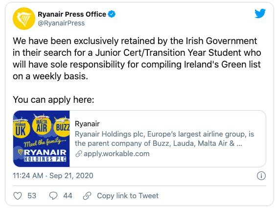 A screenshot of ryanair tweeting out the fake job ad