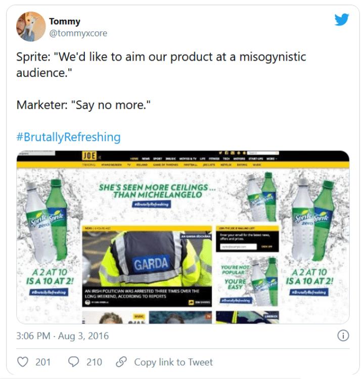 Tweet about Sprite sexist banner ad