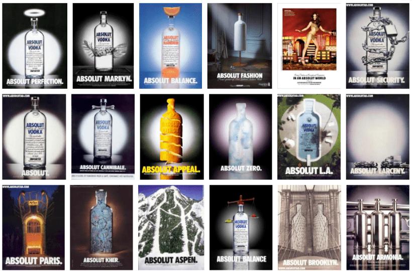 absolute vodka bottle campaigns