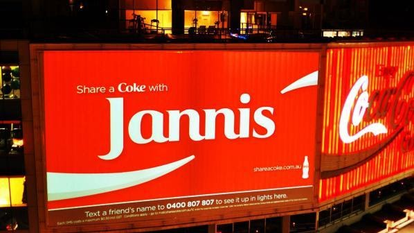 Coca Cola's personalization of their copy