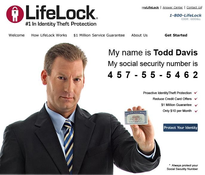 Outdated ad for lifelock in which the CEO is asking hackers to steal his identity