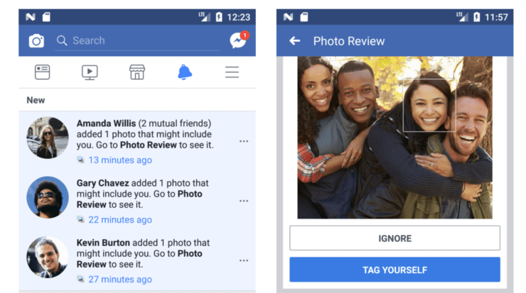 Screenshots of two Facebook activities. The first shot is a notification window showing three new notifications that a user has been tagged. The second shot shows an image of four friends smiling and a Facebook option to tag yourself on it.