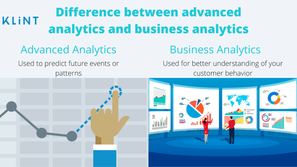 illustration of key difference between advanced analytics and business analytics