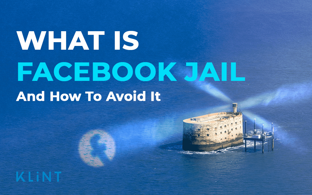"""A jail in the sea shines spotlights out into the sea, one of them contains the facebook logo. Text overlaid: """"what is facebook jail and how to avoid it"""""""