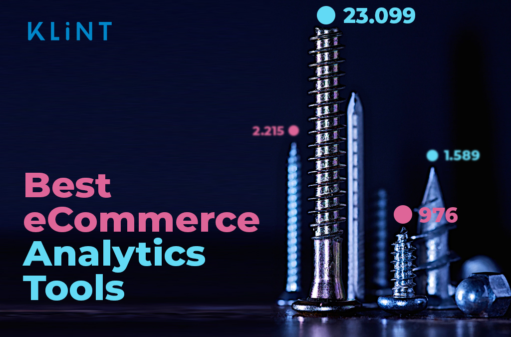 """Graphic representing of a city skyline of skyscrapers with screws as the buildings. Text overlay reads: """"best ecommerce analytics tools"""""""