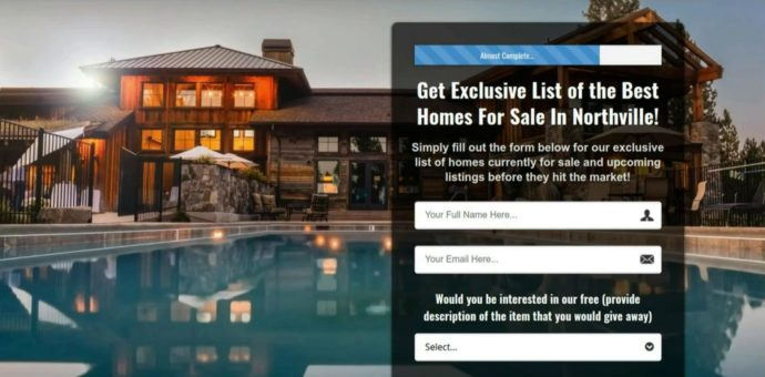 A screenshot of a Real Estate landing page showing a house with a pool on the left, and information form on the right side.