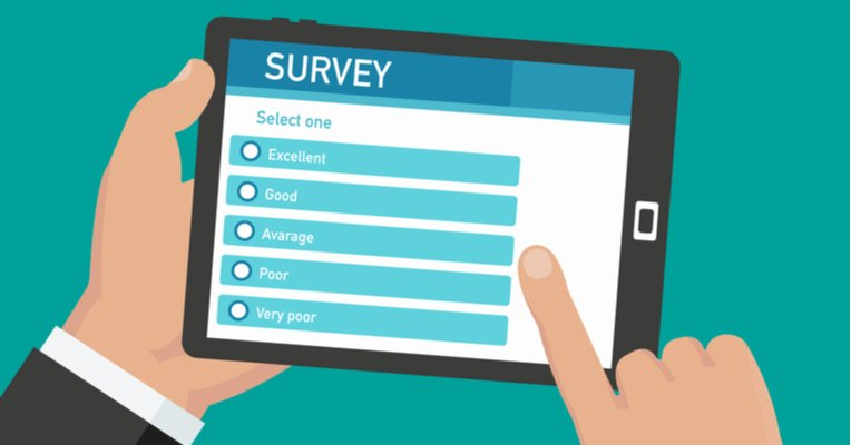 Infographic of a person's hands holding a tablet with a survey on the screen.