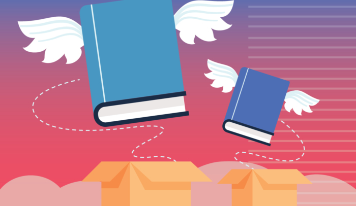 Infographic of two blue books with wings flying out of two yellow boxes.