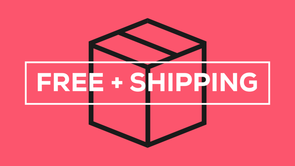An illustration of a black box against pink background. In front of the box the words in white say Free + Shipping.