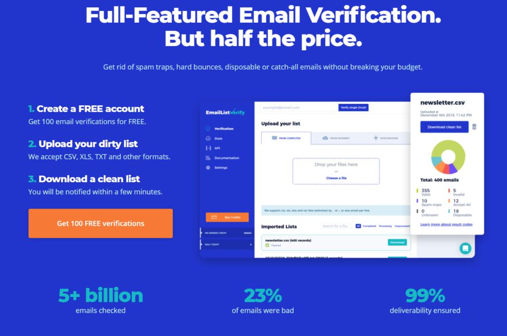 EmailListVerify features