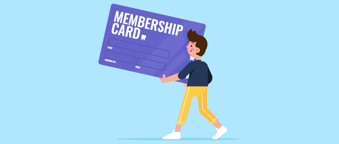 Infographic of a boy in yellow pants and blue shirt, holding a big purple membership card.