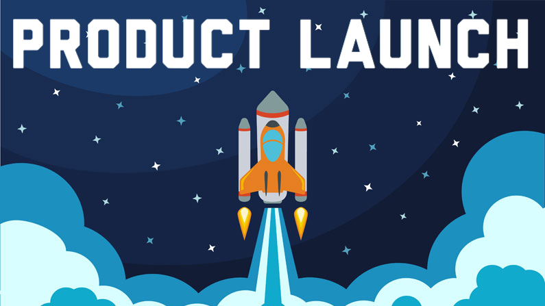 Infographic of a night sky and a space rocket launching. On the top the words in white say Product Launch.