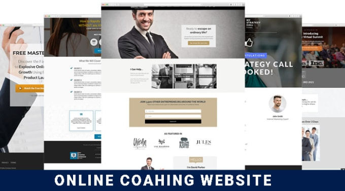 Image of multiple screenshots showing different webinar sign-up offers. Text on the bottom says: Online coaching website.