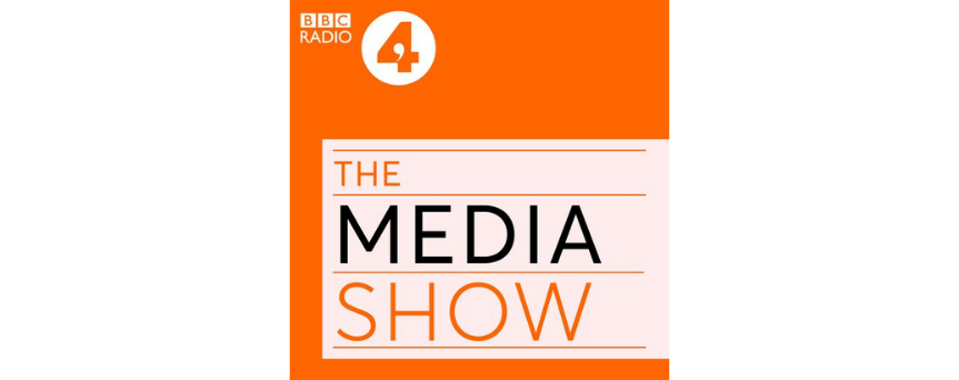 """The image has """"The Media Show"""" title as the central element. The picture's background is orange."""