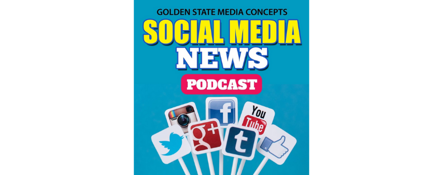 """""""Social Media News Podcast"""" sign on a blue background. There are all leading social media platforms ' logos above the podcast's name."""