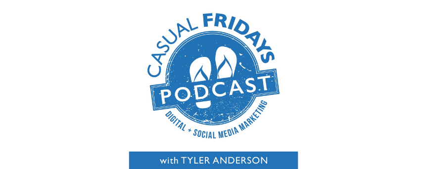 """""""Casual Fridays Podcast"""" sign in blue. The podcast's logo is a pair of slippers"""