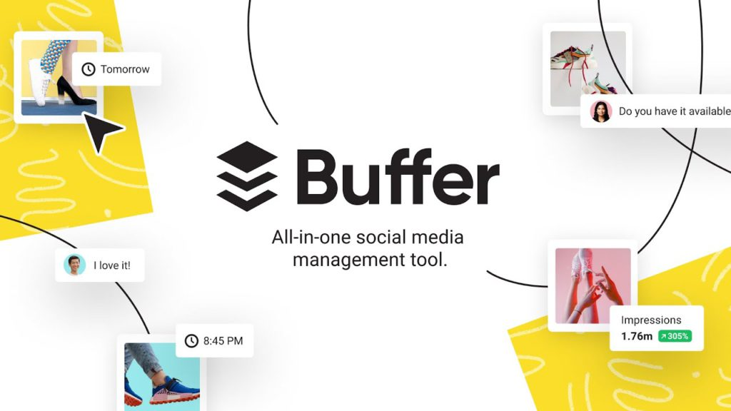 Screenshot of Buffer's website showing the features of the tool.