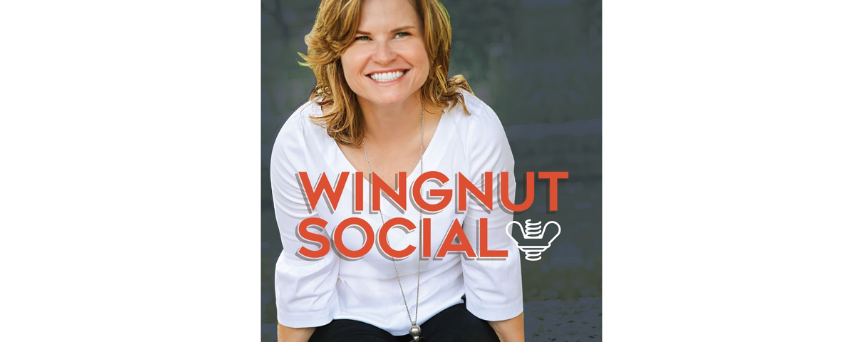 """Darla Power's picture with her podcast's name """"Wignut Social"""" at the center"""