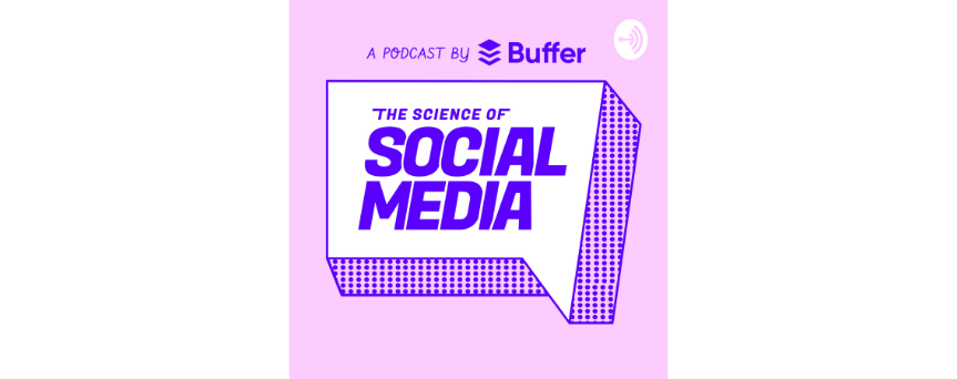 """""""The Science of Social Media"""" sign in a white and purple background"""
