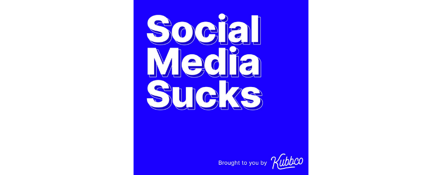 """Electric blue background image, with a white """"Social Media Sucks"""" sign"""