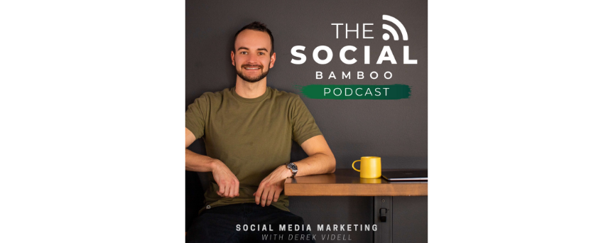 """Derek Videll close to a table with a yellow cup above. The podcast's name, """"The Social Bamboo Podcast"""", is on the right corner"""