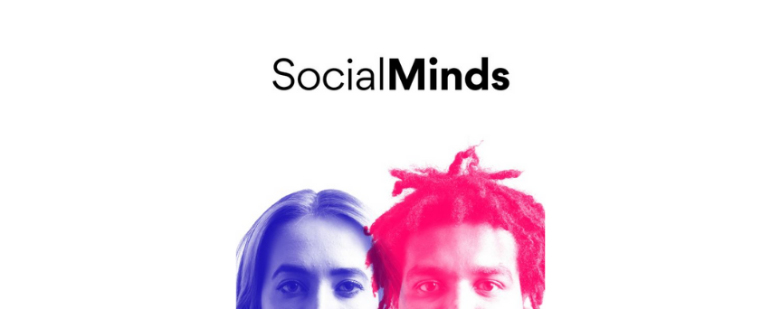 """Blue and red image of Theo Watts and Eve Young, with their podcast's name """"SocialMinds"""" written above"""