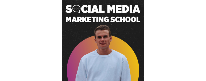 """Image both black and yellow, with Ethan Bridge in the center. The name of the podcast, """"Social Media Marketing School"""" is written above"""