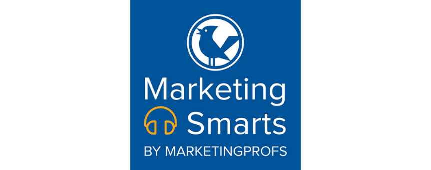 """Blue background image with a white sign """"Marketing Smarts"""". Above,  there's the podcast's logo, a cartoon style bird."""