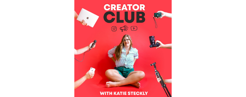 """Image of Katie Steckly at the center with many digital tools at the corners. The podcast's name """"Creator club"""" is above"""