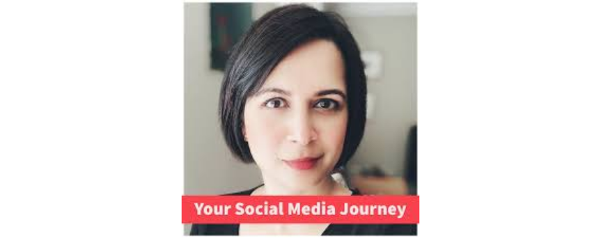 """Shikita Singh's picture, with """"Your Social Media Journey"""", her podcast name, above."""