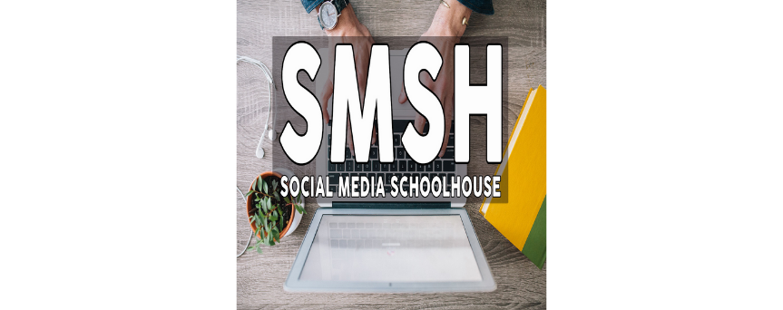 """Image of a laptop on the background. In the center we find """"SMSH Social Media School House"""" sign"""