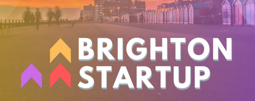 "Orange and purple background, with ""Brighton Startup"" written in white"